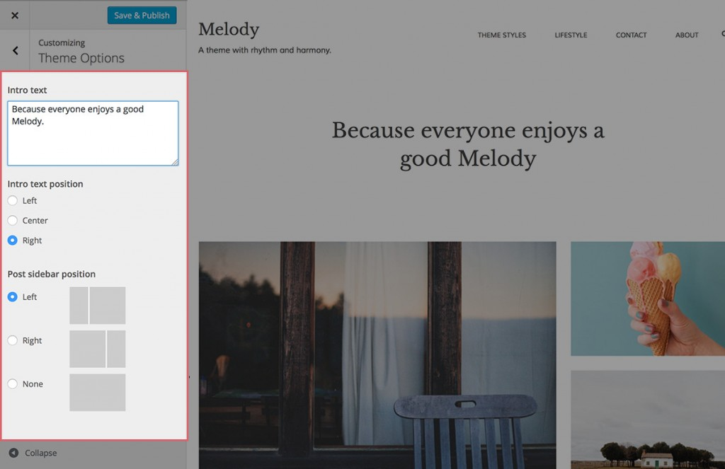 Melody Theme Options