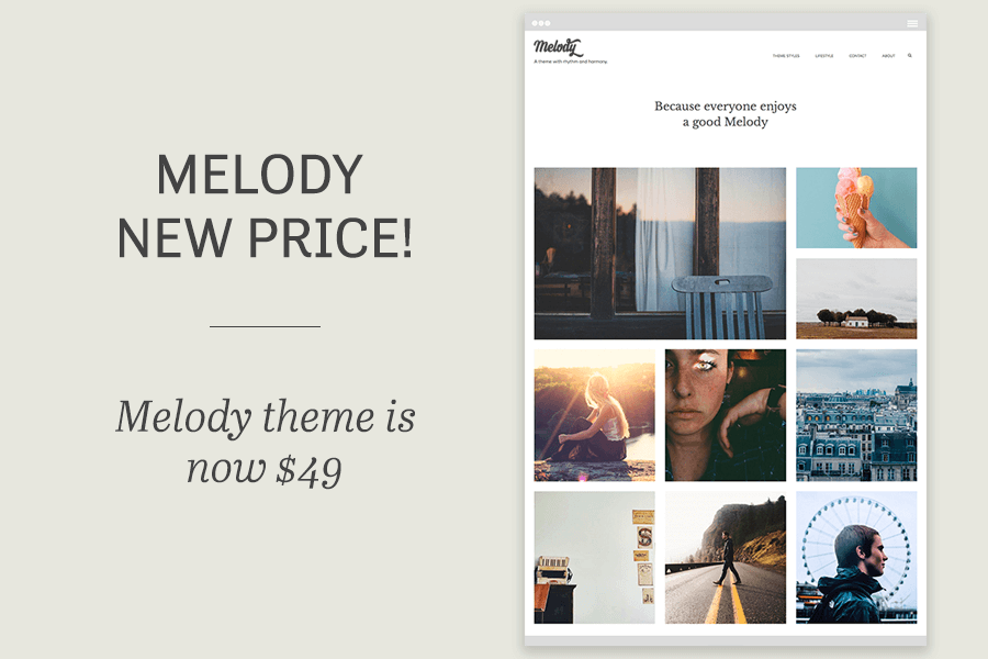 Melody WordPress theme - lower price